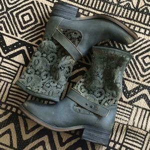Free People Lace & Leather Boots, Size 38.